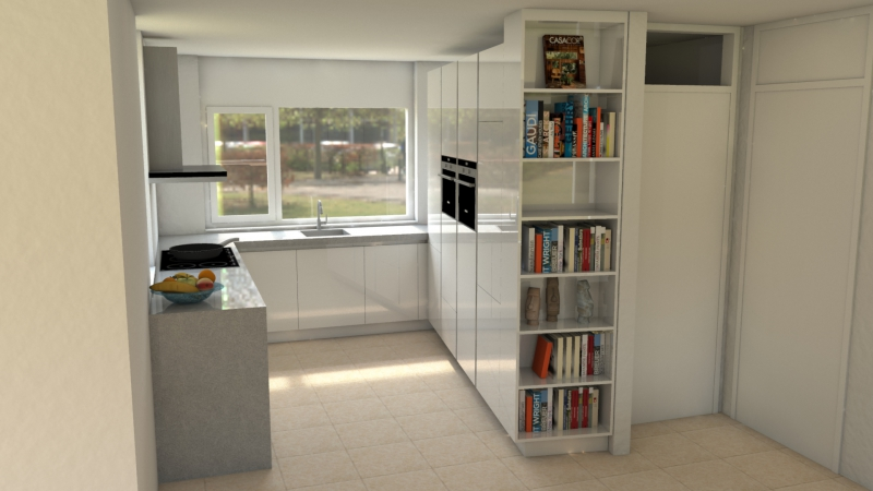 keuken hoge boekenkast